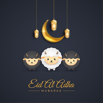 Eid al adha mubarak com cabra e lua crescente