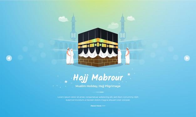 Eid al adha mubarak com hajj mabrour no conceito de ilustração de kaaba