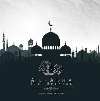 Eid al adha mubarak design de fundo com mesquita