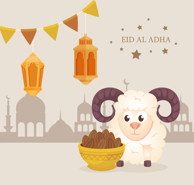 Eid al adha mubarak, feliz festa de sacrifício, cabra com ícones tradicionais e guirlandas penduradas