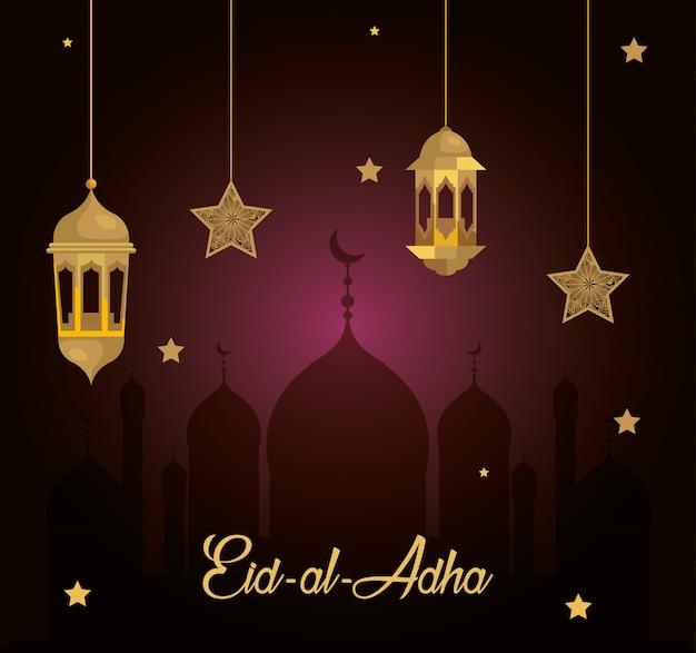 Eid al adha mubarak, feliz festa de sacrifício, com lanternas e estrelas penduradas
