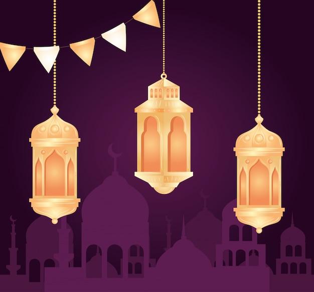Eid al adha mubarak, feliz festa de sacrifício, com lanternas penduradas e silhueta da cidade da arábia