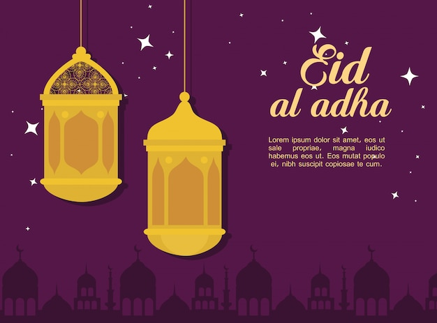Eid al adha mubarak, feliz festa de sacrifício, com lanternas penduradas e silhueta design de ilustração de cidade da arábia