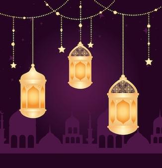 Eid al adha mubarak, feliz festa de sacrifício, com lanternas penduradas, silhueta da cidade da arábia e estrelas penduradas