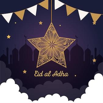Eid al adha mubarak, feliz festa de sacrifício, estrela com guirlandas penduradas