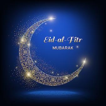 Eid-al-adha mubarak - festa do sacrifício. lua ornamental de brilho dourado com sombra e a inscrição eid-al-adha mubarak em um fundo azul escuro.