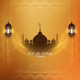 Eid-al-adha mubarak fundo islâmico com mesquita