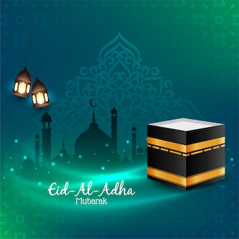 Eid al adha mubarak fundo religioso vector