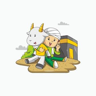 Eid al adha mubarak. menino, cabra e meca com ilustração