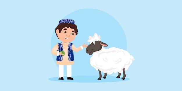 Eid al adha mubarak. o menino alimenta uma ovelha com grama. festival da comunidade muçulmana eid al adha