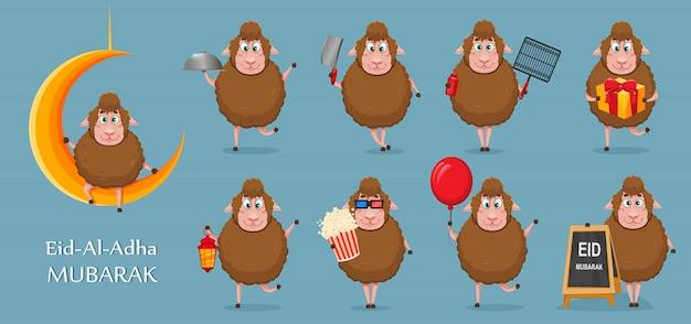 Eid al-adha mubarak. ovelha engraçado dos desenhos animados