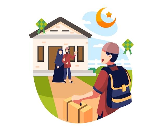 Eid al fitr background um jovem rapaz visita seus pais durante as férias do ramadã ilustração de fundo