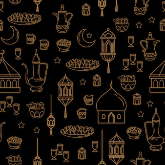 Eid al-fitr celebração perfeita linha arte