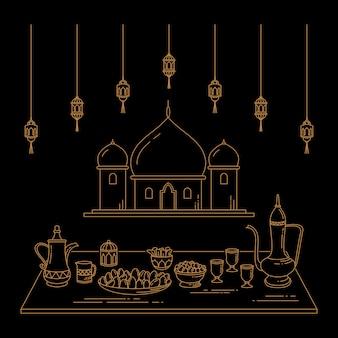 Eid al-fitr celebration line art
