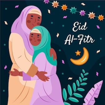 Eid al-fitr desenhado à mão - ilustração de eid mubarak