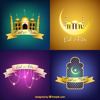 Eid coleção de fundo al-fitr