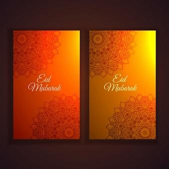 Eid festival panfletos e banners set