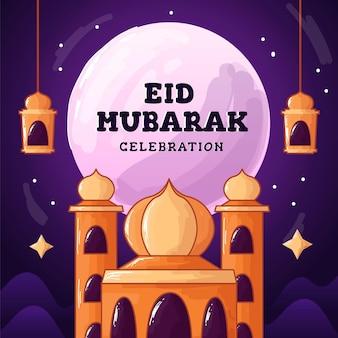 Eid mubarak 7flat e ilustração de estilo desenhado à mão eid mubarak