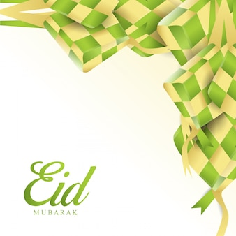 Eid mubarak com design islâmico ketupat