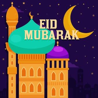 Eid mubarak com lua design plano sobre mesquita