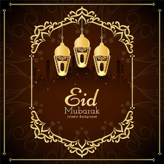 Eid mubarak com moldura dourada e lanternas