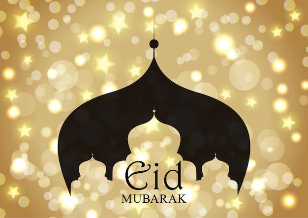 Eid mubarak com silhueta de mesquita em estrelas de ouro e luzes de bokeh