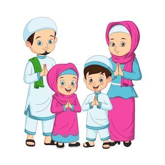 Eid mubarak cumprimentando desenho animado da família muçulmana