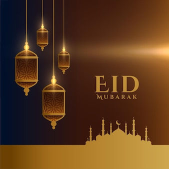 Eid mubarak deseja um cartão com um design elegante