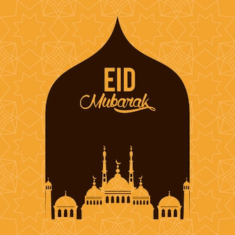 Eid mubarak design com silhueta de mesquita
