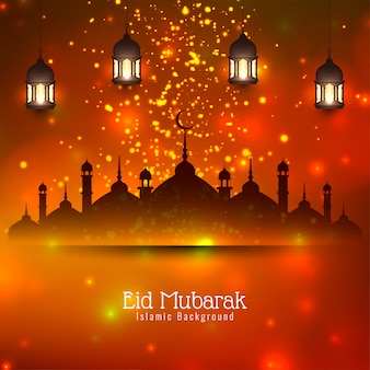 Eid mubarak festival islâmico brilhante brilha fundo