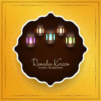 Eid mubarak fundo islâmico com lanternas