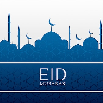 Eid mubarak fundo islâmico com mesquita azul