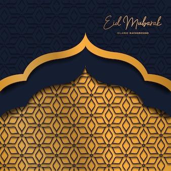 Eid mubarak islâmico fundo escuro com estilo dourado