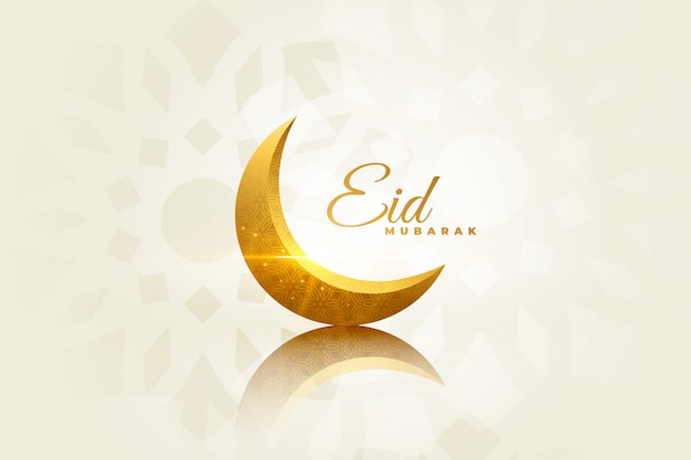 Eid mubarak linda saudação com lua decorativa