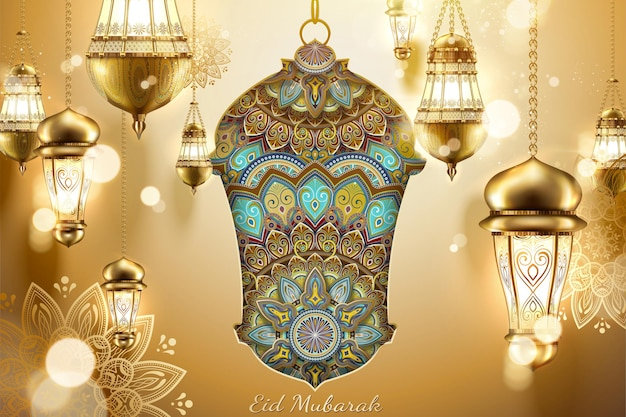Eid mubarak lindos fanoos pendurados e padrões de arabescos