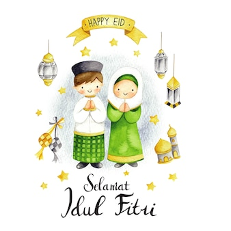Eid mubarak ou cartão idul fitri em estilo de desenho animado