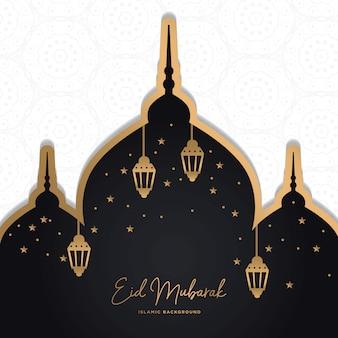 Eid mubarak saudação cartão fundo islâmico