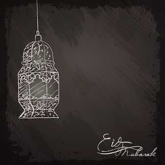 Eid mubarak saudação fundo lanterna esboço