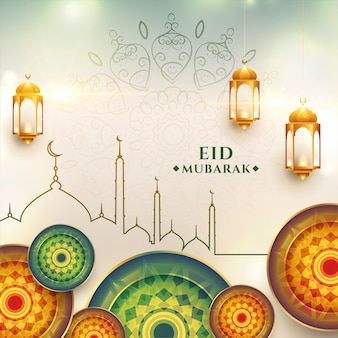 Eid mubarak saudação projeto fundo realista