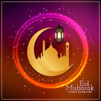 Eid mubarak saudação religiosa brilhante