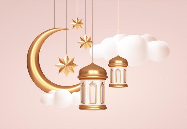Eid mubarak símbolos realistas em 3d dos feriados islâmicos árabes