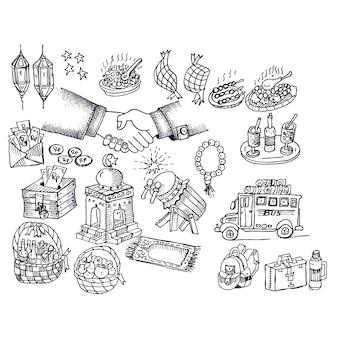 Eid mubarak, vetor de doodle