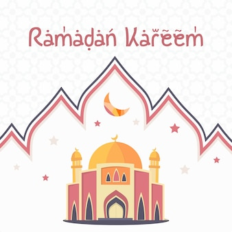 Eid mubarok com ilustração de mesquita, modelo islâmico cartão