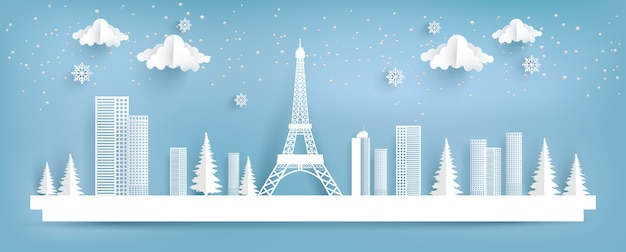 Eifel torre e cidade no inverno. projeto da arte de papel.