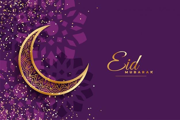 Eis mubarak deseja design com lua e brilhos