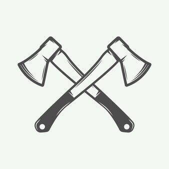 Eixos transversais vintage em estilo retro podem ser usados para logotipo emblema emblema rótulo carimbo ou marca