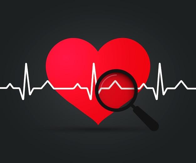 Ekg heart. símbolo de batimento cardíaco e lupa. projeto médico, frequência cardíaca em fundo escuro