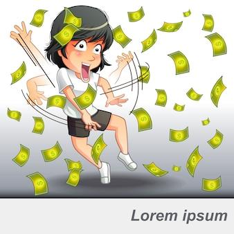 Ela conseguiu um dinheiro de negócios.