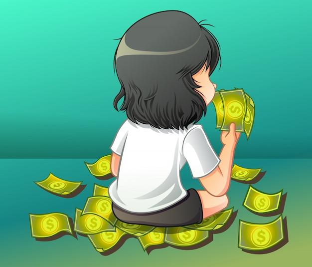 Ela está carregando um dinheiro.