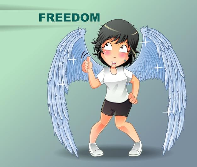 Ela está dizendo que tem asas e liberdade.